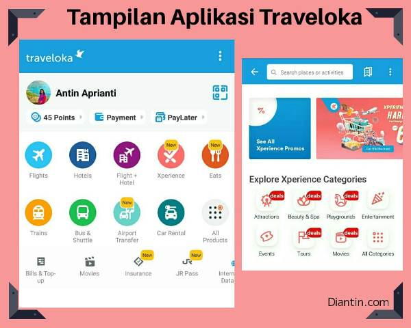 tampilan aplikasi traveloka xperience - diantin.com